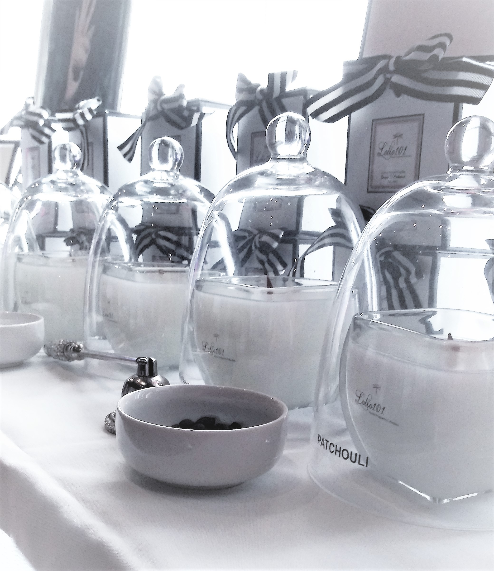 Lolio101 #Patchouli #ScentedCandles glass domes cloches luxury gifts black and white stripped ribbon