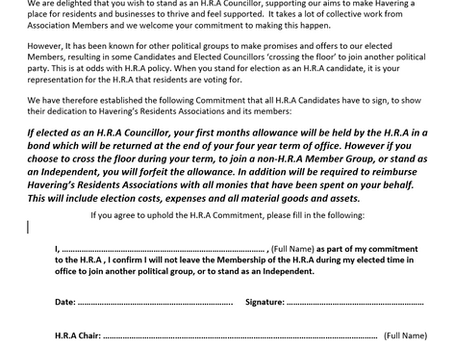 H.R.A Candidate and Elected Councillor Commitment