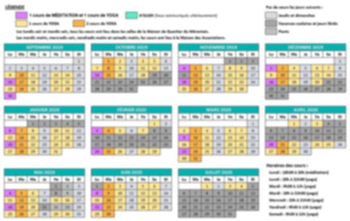 Planning Yoga Voisins 2019 - 2020