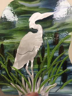 Stork and Cattails