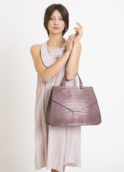 Leather bags, crocodile model. Made in Italy