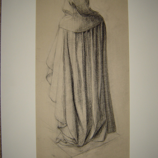 Drapery study, drawing from plaster cast.