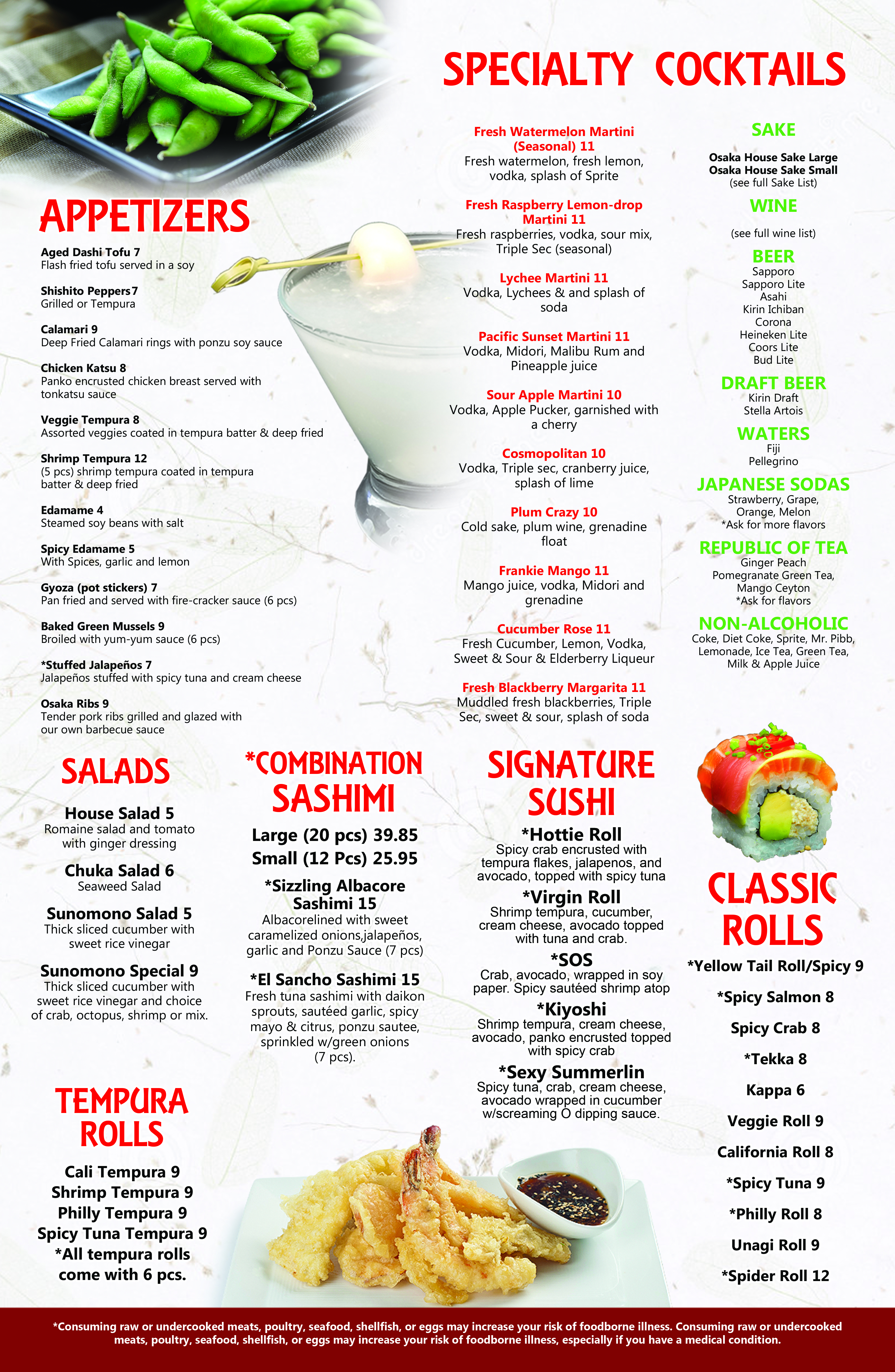 Osaka Hibachi Menu 2019 Main Side 2
