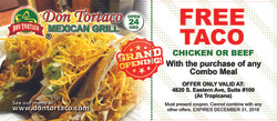 DonTortacoFREE TACO Offer Front 2018 8