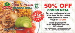 DonTortaco50% OFF COMBO Offer Front 2018