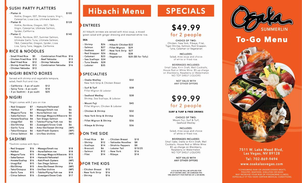 Osaka TO-GO Menu Side 1