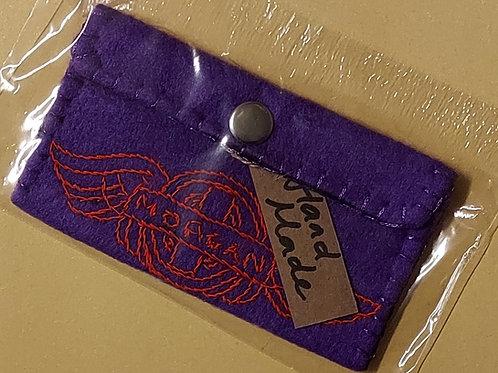Morgan Ladies Purse, purple, red stitching