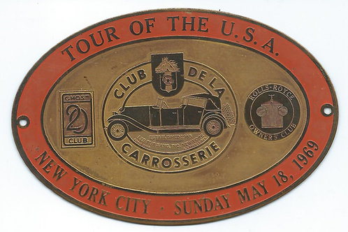 Rolls-Royce Twenty Tour USA plaque