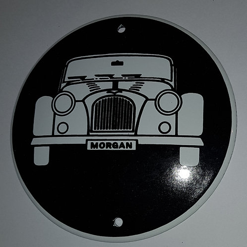 Black enamel Morgan sign, 10cms