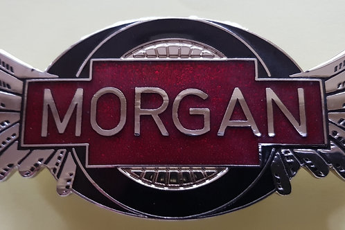Morgan Wings badge, 3-wheeler style, transparent dark red