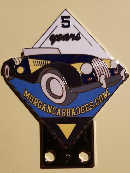 Morgan Car Badges 5 Years, chrome