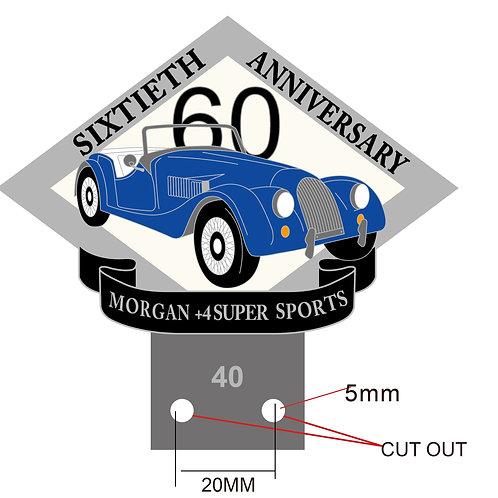Morgan +4 Super Sports 60th anniversary badge, dark blue car