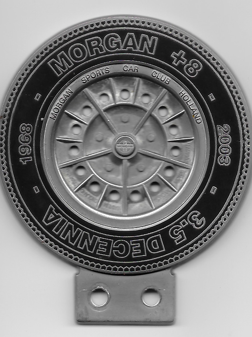 "Morgan Plus 8 35th anniversary ""wheel"" badge"
