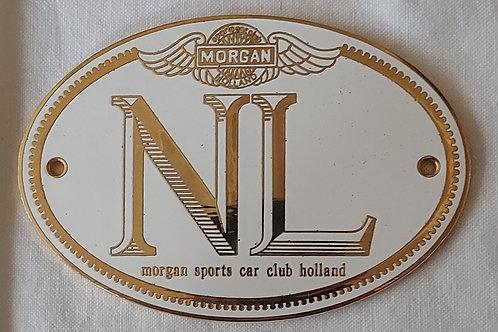 Morgan Sports Car Club Holland NL plate badge, gold lettering