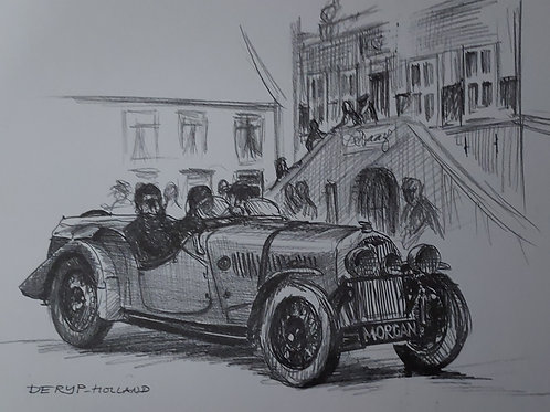 Morgan 4/4 Flat rad in front of town hall De Rijp