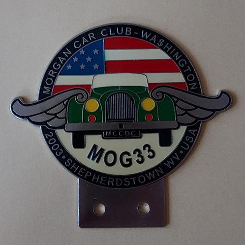 Morgan Car Club Washington DC, MOG 33 badge, green car