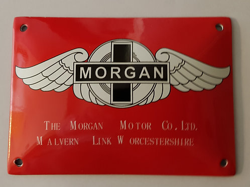 Stove enamel sign Morgan, bright red
