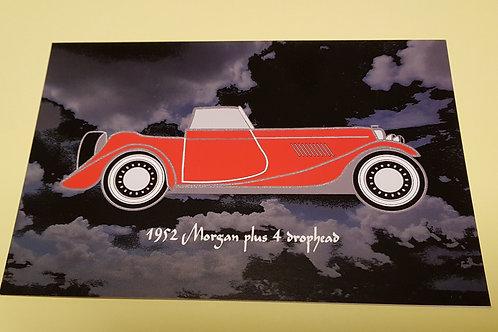 Morgan Plus 4 Drophead Coupe post card