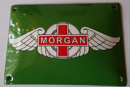 Morgan enamel sign, green