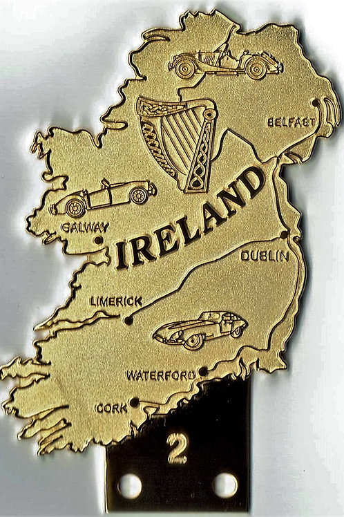 Ireland badge, island shaped, gilt, with Morgan, Jaguar E-Type and MG MGA