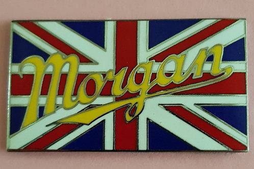 Union Jack badge with Morgan script