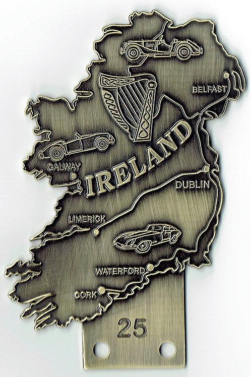 Ireland island shaped badge, bronze, with Morgan, MGA and Jaguar E-Type