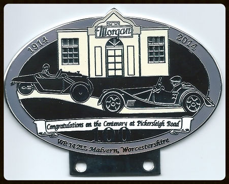 The badge issued for 100 Years Morgan Factory at the Pickersleigh Road in Malvern Link