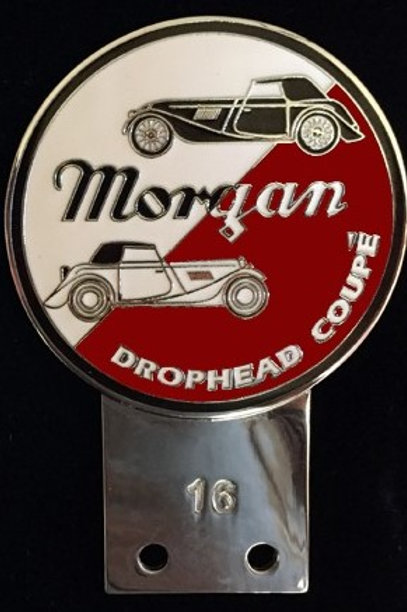 Morgan Drophead Coupé badge, white/maroon