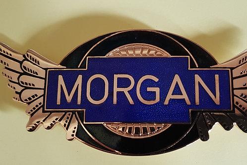 Morgan wings badge, transparent blue, gilt