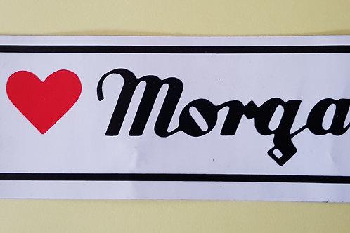 I LOVE Morgan sticker, 1980s