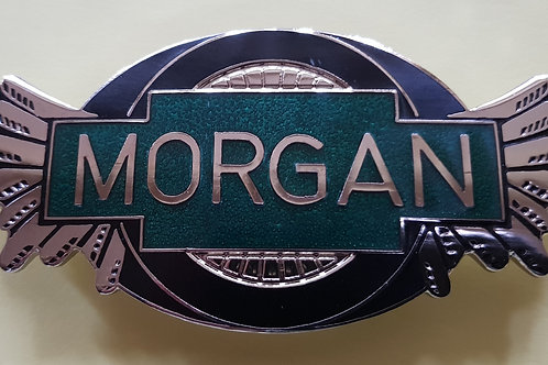 Morgan wings badge, 3-wheeler style, transparent dark green
