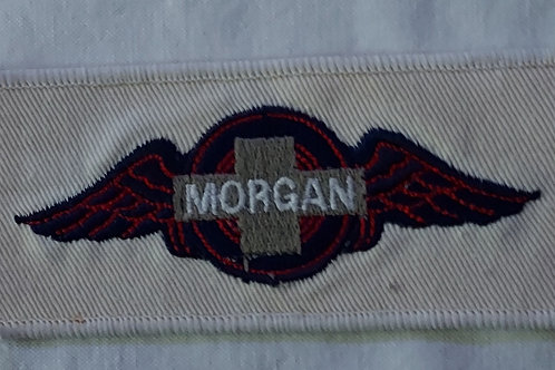 Morgan wings patch, rectangle, black/red