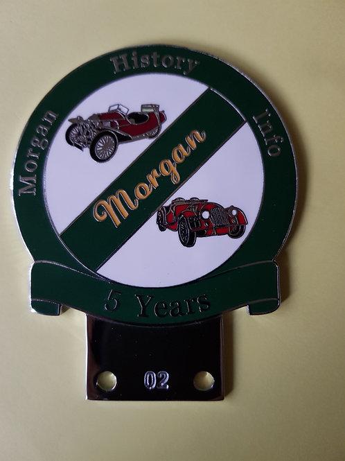 Morgan History Info 5 years badge, green rim. RARE!