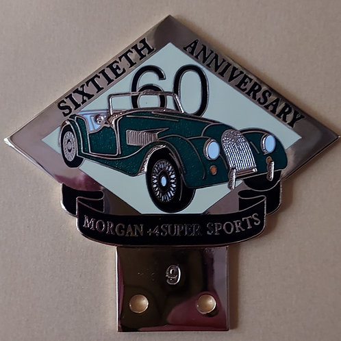 Morgan +4 Super Sports 60 Years, green car, gilt badge