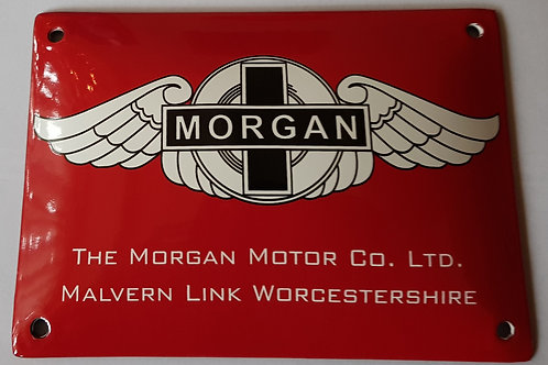 Morgan Motor Co. Stove enamel sign, red
