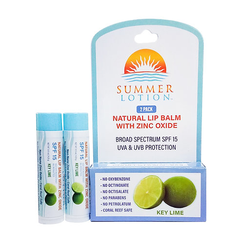 Summer Lotion® - Natural Lip Balm with Zinc Oxide, 2-pack, Key Lime