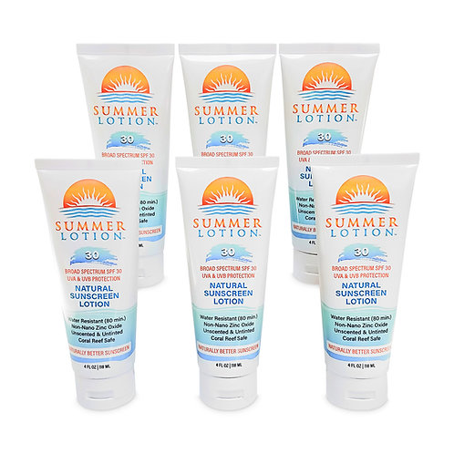 Summer Lotion® - Natural Sunscreen with Zinc Oxide, SPF 30, 4 ounces, 6-pack