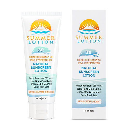 Summer Lotion® - Natural Sunscreen Lotion with Zinc Oxide - SPF 30 - 4 oz