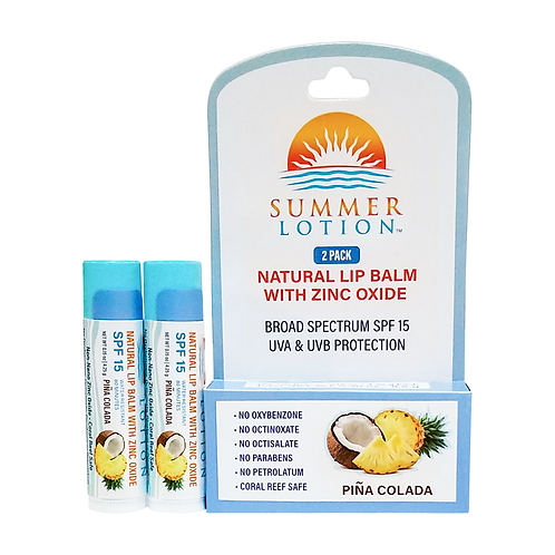 Summer Lotion® - Natural Lip Balm with Zinc Oxide, 2-pack, Pina Colada Flavor
