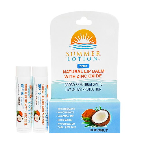 Summer Lotion® - Natural Lip Balm with Zinc Oxide, 2-pack, Coconut Flavor