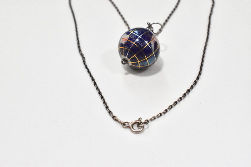 Vintage globe pendant necklace silver metal chain vtg los angeles vintage necklace globe pendant gold and silver tone metal detail on globe sterling silver marked chain in excellent condition falls 10 on neck aloadofball Choice Image