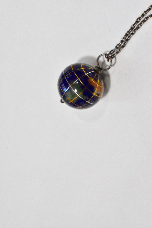 Vintage globe pendant necklace silver metal chain vtg los angeles vintage necklace globe pendant gold and silver tone metal detail on globe sterling silver marked chain in excellent condition falls 10 on neck mozeypictures Gallery