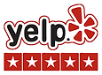 Yelp logo with 5 star reviews image