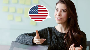 woman with speech balloon showing American flag