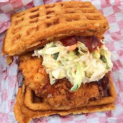 📍San Francisco, California - The Chicken Fried Soul Waffle Sandwich 🥪 Bacon Wrapped Buttermilk Fri