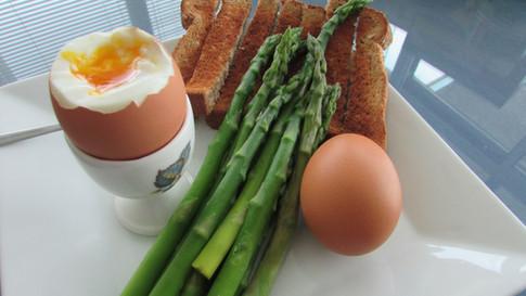 Sot Boiled Eggs Asparagus and Toast