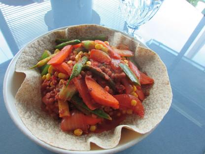 Open Face Lentils & Veggie Curry Wrap
