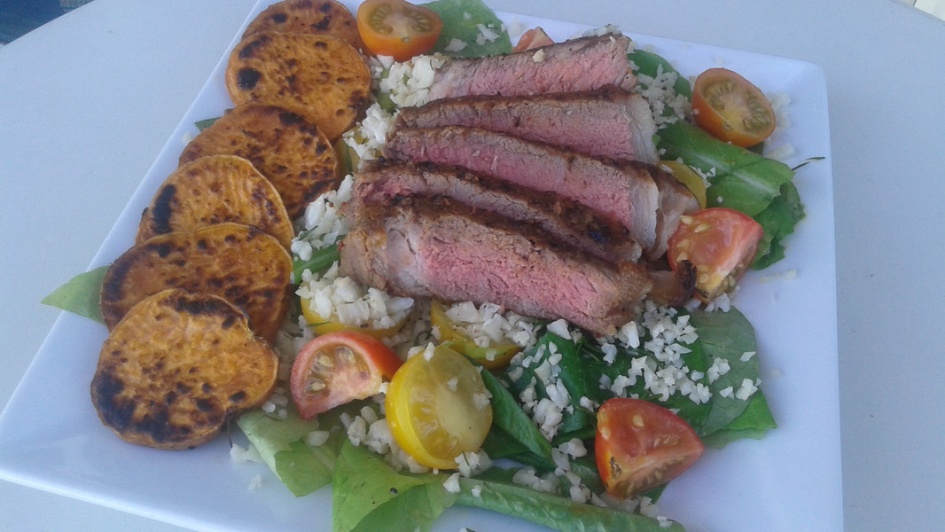 Steak & Greens with Sweet Potatoes