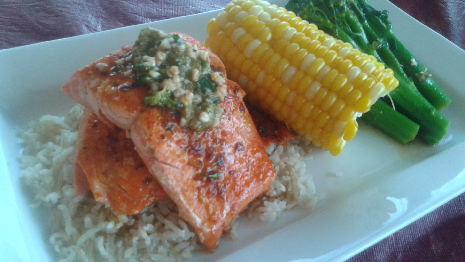 Grilled Salmon with Rice & Veg