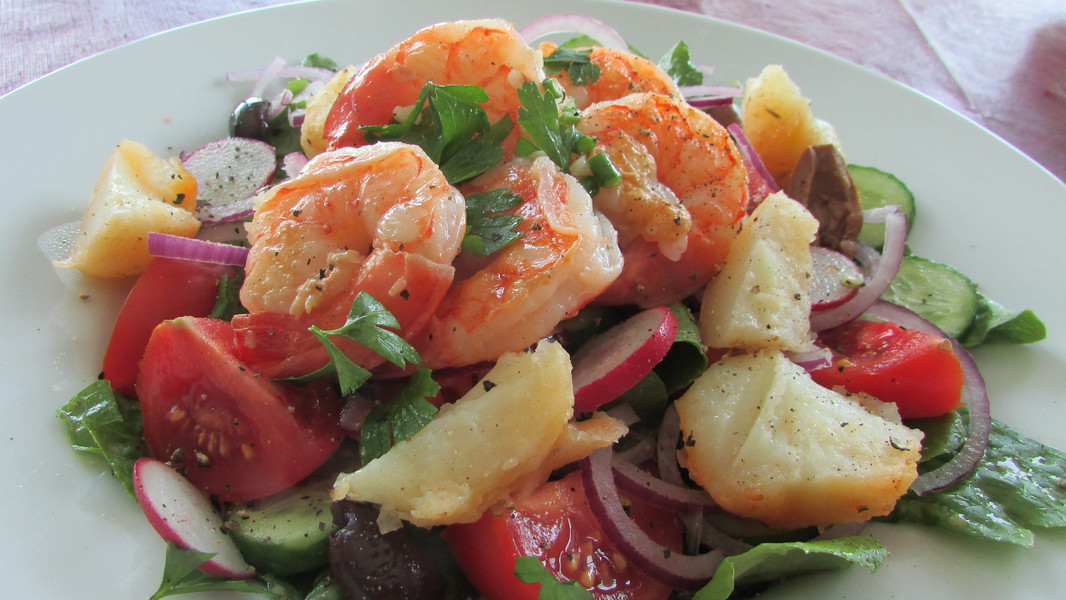 Shrimp & Greens with Roasted Potatoes
